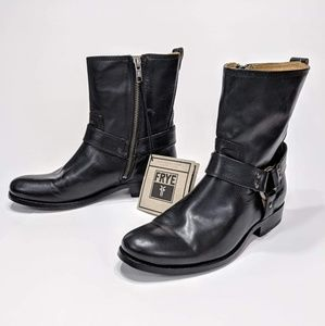 Frye Melissa Harness Boots Leather Zip Mid Shaft